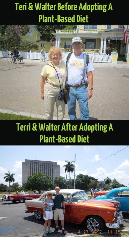 Teri and Walter Guilarte before and after they went plant-based,Teri and Walter Guilarte before and after adopting a whole foods plant-based diet,Teri and Walter Guilarte before and after they became vegan,Teri and Walter Guilarte before and after going vegan