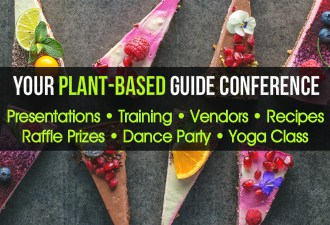 Presentations, vendors, training, free recipes, a dance class, and yoga class at Your Plant Based Guide Conference in Costa Mesa California