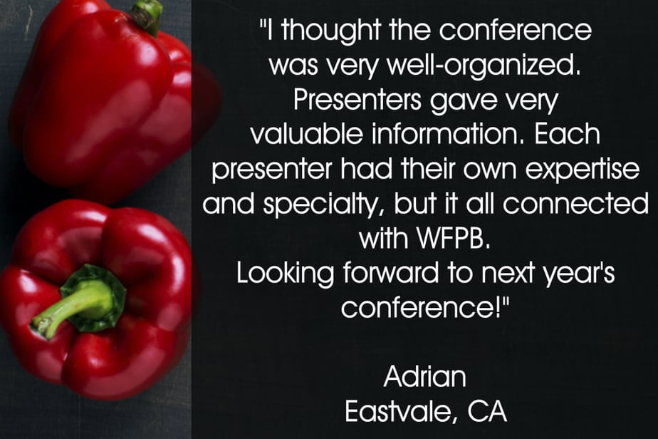 Adrians testimonial for your plant-based guide conference