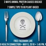 Promo for the Facebook Live event streaming from the Herbivore Festival in Yucaipa California and sharing the ways in which animal protein causes disease and tips to go plant based