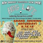 Hug Life vegan ice cream shop will be hosting the grand opening of their new location in Orange, California on August 18, 2018 with a buy one get one free offer